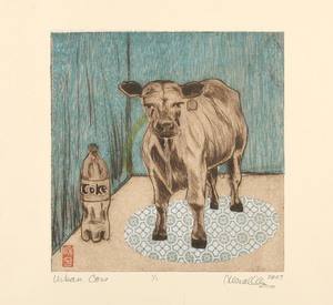 Urban Cow Monoprint with chine colle | 7x7""
