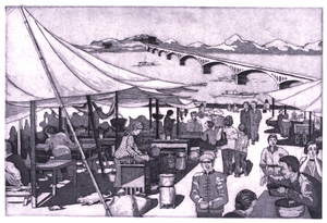 Riverside Open Market in China Engraving & Aquatint | 18x12""